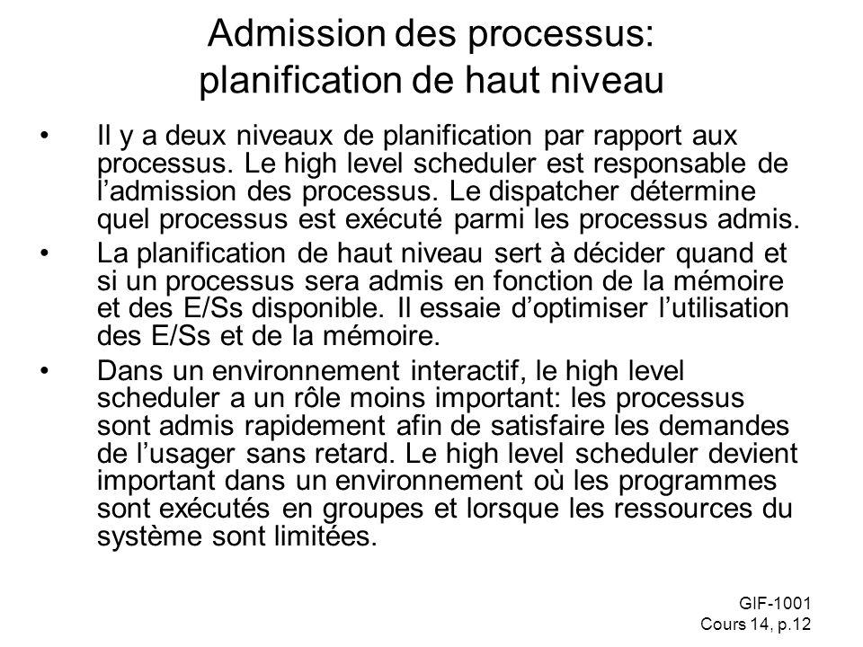 GIF-1001 Cours 14, p.12 Admission des processus: planification de haut niveau Il y a deux niveaux de planification par rapport aux processus. Le high