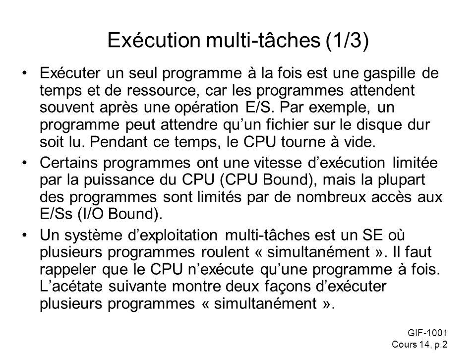 GIF-1001 Cours 14, p.2 Exécution multi-tâches (1/3) Exécuter un seul programme à la fois est une gaspille de temps et de ressource, car les programmes