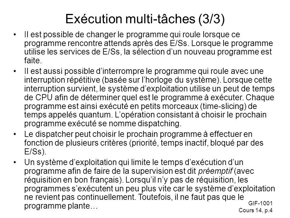 GIF-1001 Cours 14, p.4 Exécution multi-tâches (3/3) Il est possible de changer le programme qui roule lorsque ce programme rencontre attends après des