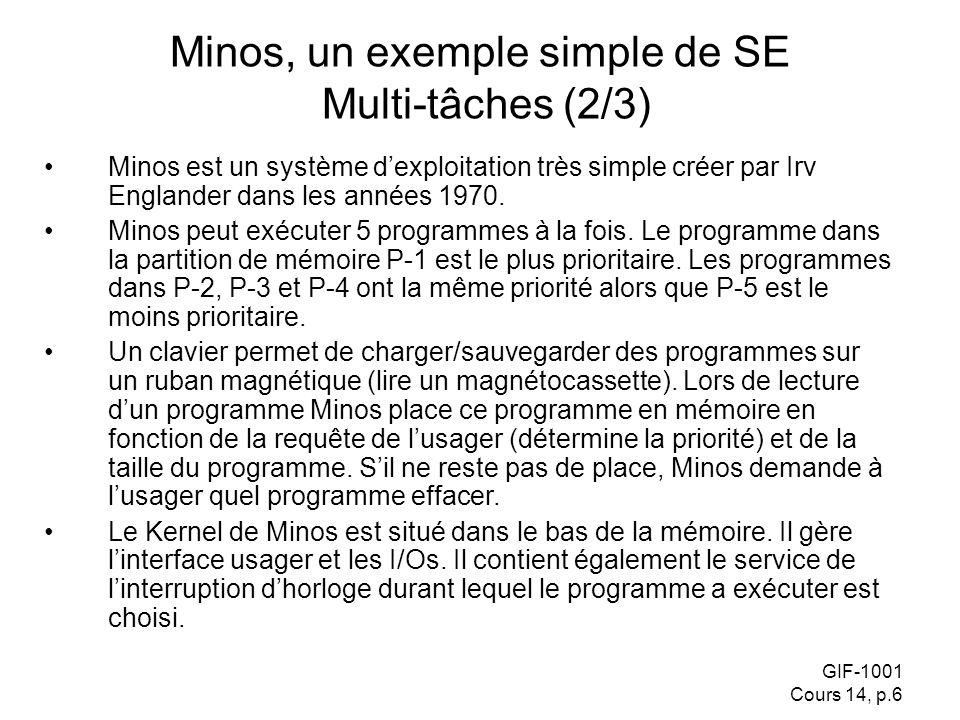 GIF-1001 Cours 14, p.6 Minos est un système dexploitation très simple créer par Irv Englander dans les années 1970. Minos peut exécuter 5 programmes à