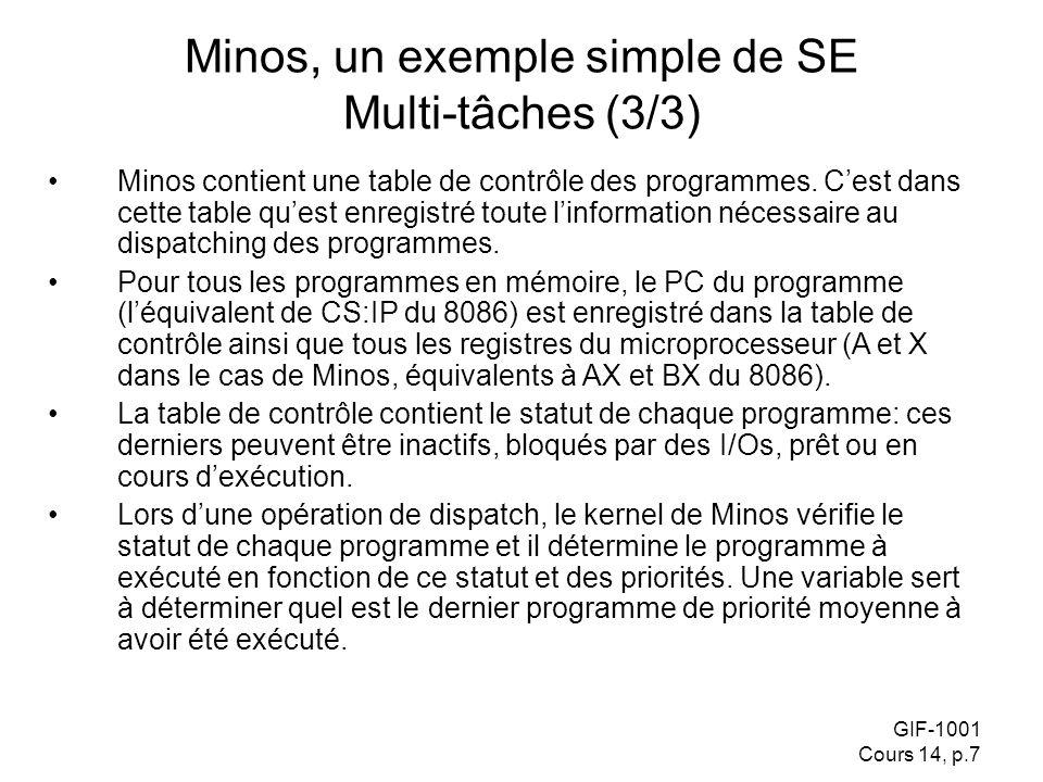 GIF-1001 Cours 14, p.7 Minos, un exemple simple de SE Multi-tâches (3/3) Minos contient une table de contrôle des programmes. Cest dans cette table qu