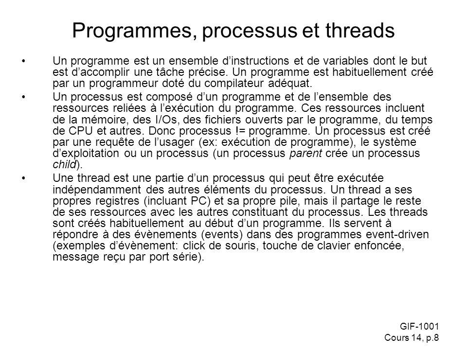 GIF-1001 Cours 14, p.8 Programmes, processus et threads Un programme est un ensemble dinstructions et de variables dont le but est daccomplir une tâch