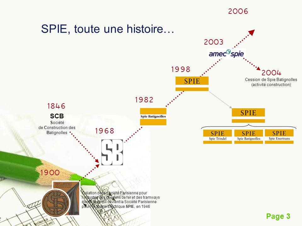 Page 3 SPIE, toute une histoire… 1900 1968 1998 2003 2006 1982 Création de la Société Parisienne pour lindustrie des chemins de fer et des tramways él