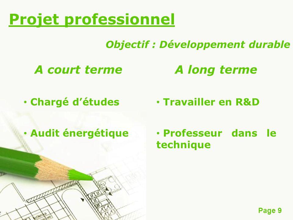 Page 9 Projet professionnel A court terme Chargé détudes Audit énergétique A long terme Travailler en R&D Professeur dans le technique Objectif : Déve