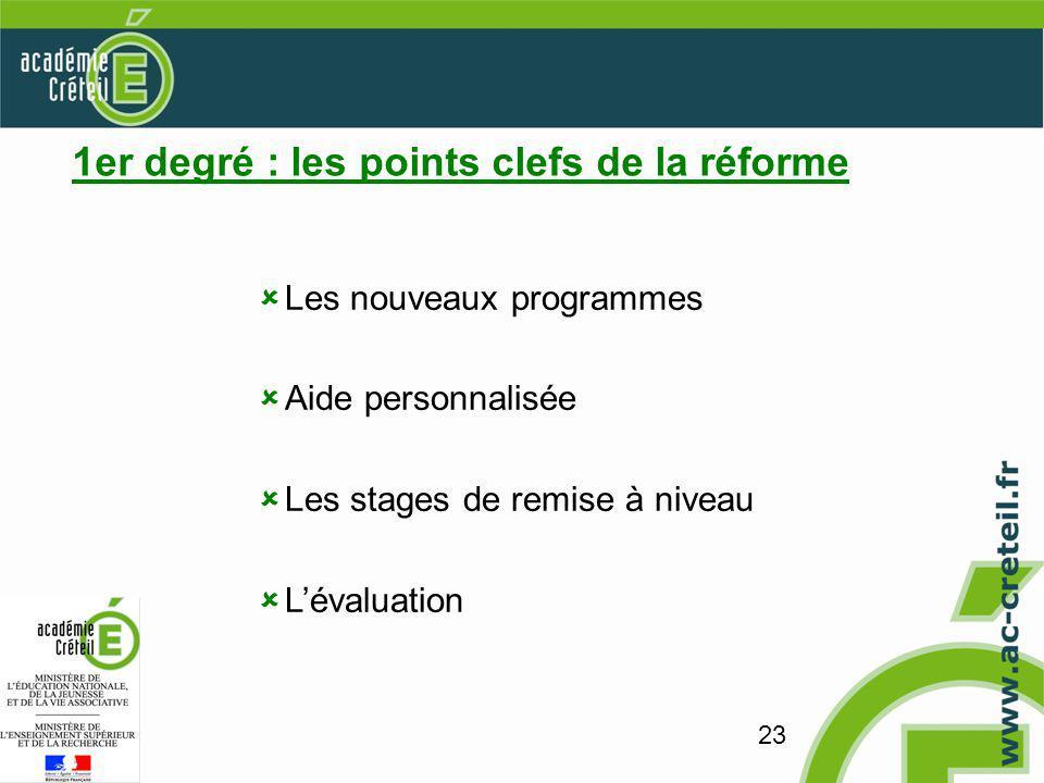 23 1er degré : les points clefs de la réforme Les nouveaux programmes Aide personnalisée Les stages de remise à niveau Lévaluation