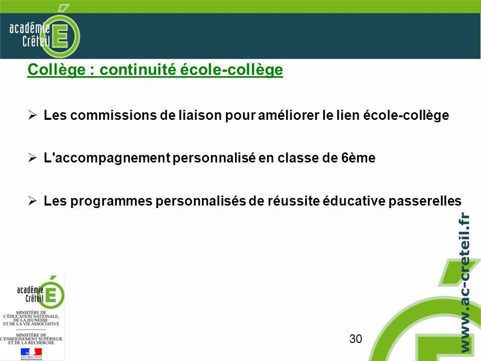 30 Collège : continuité école-collège Les commissions de liaison pour améliorer le lien école-collège L accompagnement personnalisé en classe de 6ème Les programmes personnalisés de réussite éducative passerelles