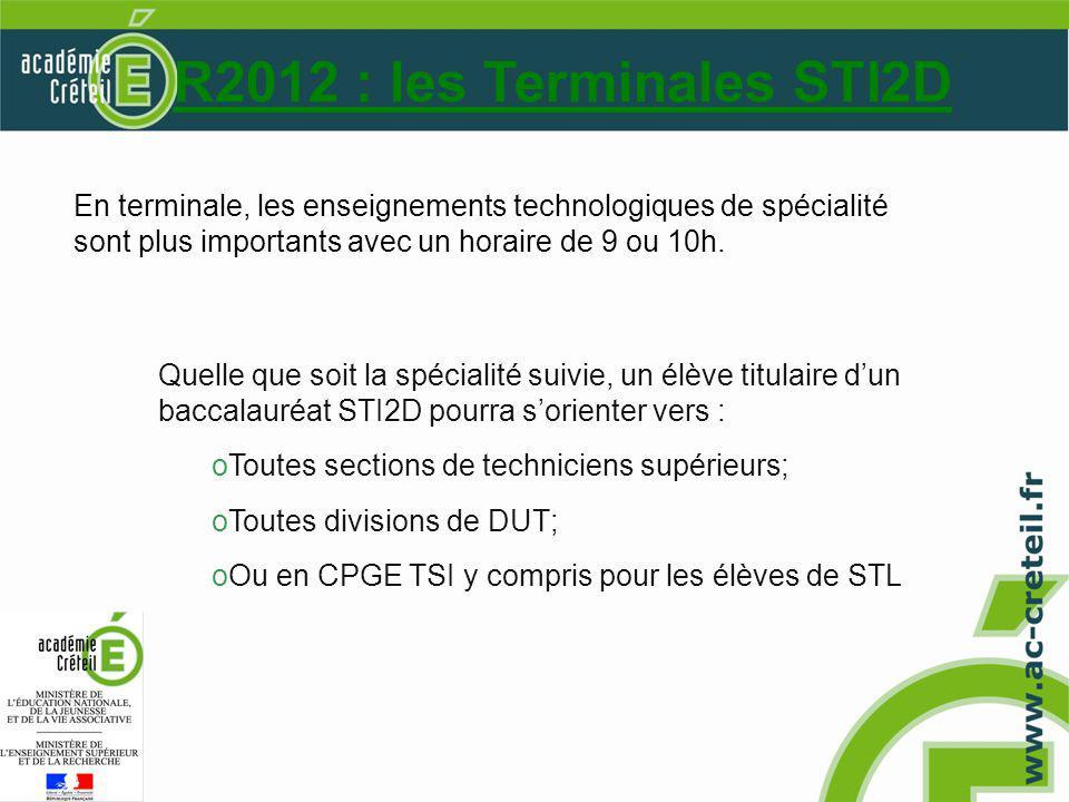 R2012 : les Terminales STI2D Quelle que soit la spécialité suivie, un élève titulaire dun baccalauréat STI2D pourra sorienter vers : oToutes sections de techniciens supérieurs; oToutes divisions de DUT; oOu en CPGE TSI y compris pour les élèves de STL En terminale, les enseignements technologiques de spécialité sont plus importants avec un horaire de 9 ou 10h.