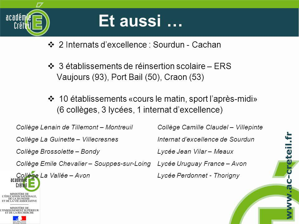 2 Internats dexcellence : Sourdun - Cachan 3 établissements de réinsertion scolaire – ERS Vaujours (93), Port Bail (50), Craon (53) 10 établissements