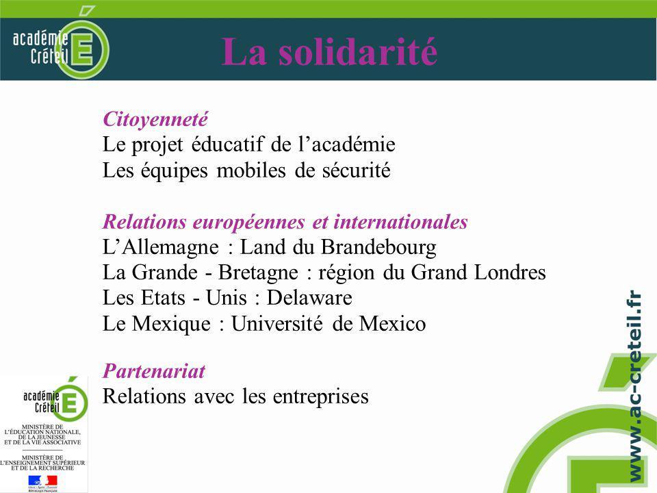 La solidarité Citoyenneté Le projet éducatif de lacadémie Les équipes mobiles de sécurité Relations européennes et internationales LAllemagne : Land du Brandebourg La Grande - Bretagne : région du Grand Londres Les Etats - Unis : Delaware Le Mexique : Université de Mexico Partenariat Relations avec les entreprises