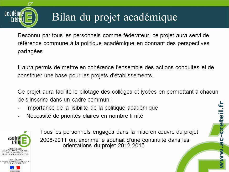 Bilan du projet académique Reconnu par tous les personnels comme fédérateur, ce projet aura servi de référence commune à la politique académique en donnant des perspectives partagées.