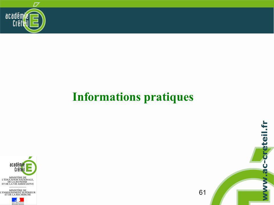 61 Informations pratiques