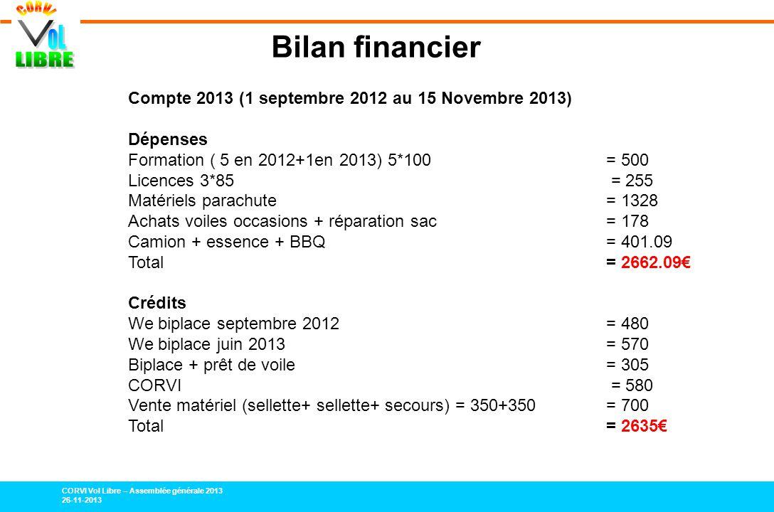 CORVI Vol Libre – Assemblée générale 2013 26-11-2013 Bilan financier Compte 2013 (1 septembre 2012 au 15 Novembre 2013) Dépenses Formation ( 5 en 2012