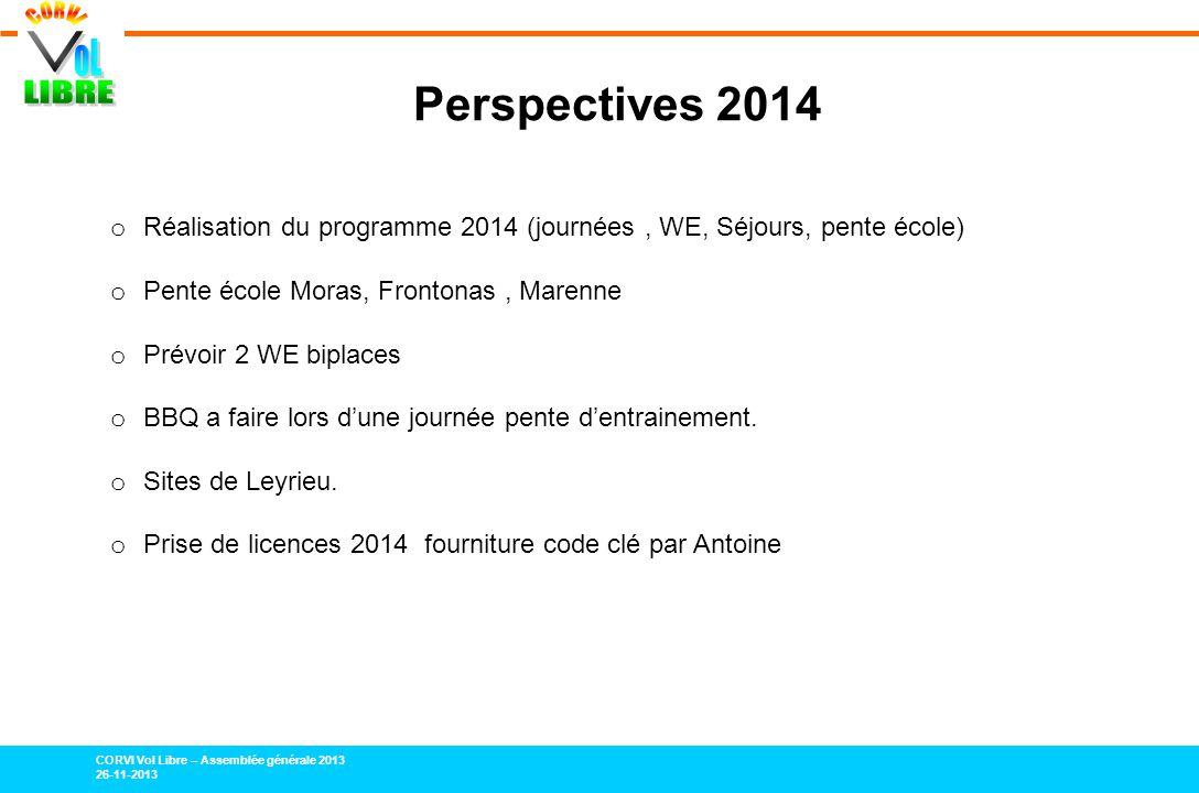 CORVI Vol Libre – Assemblée générale 2013 26-11-2013 Perspectives 2014 o Réalisation du programme 2014 (journées, WE, Séjours, pente école) o Pente éc