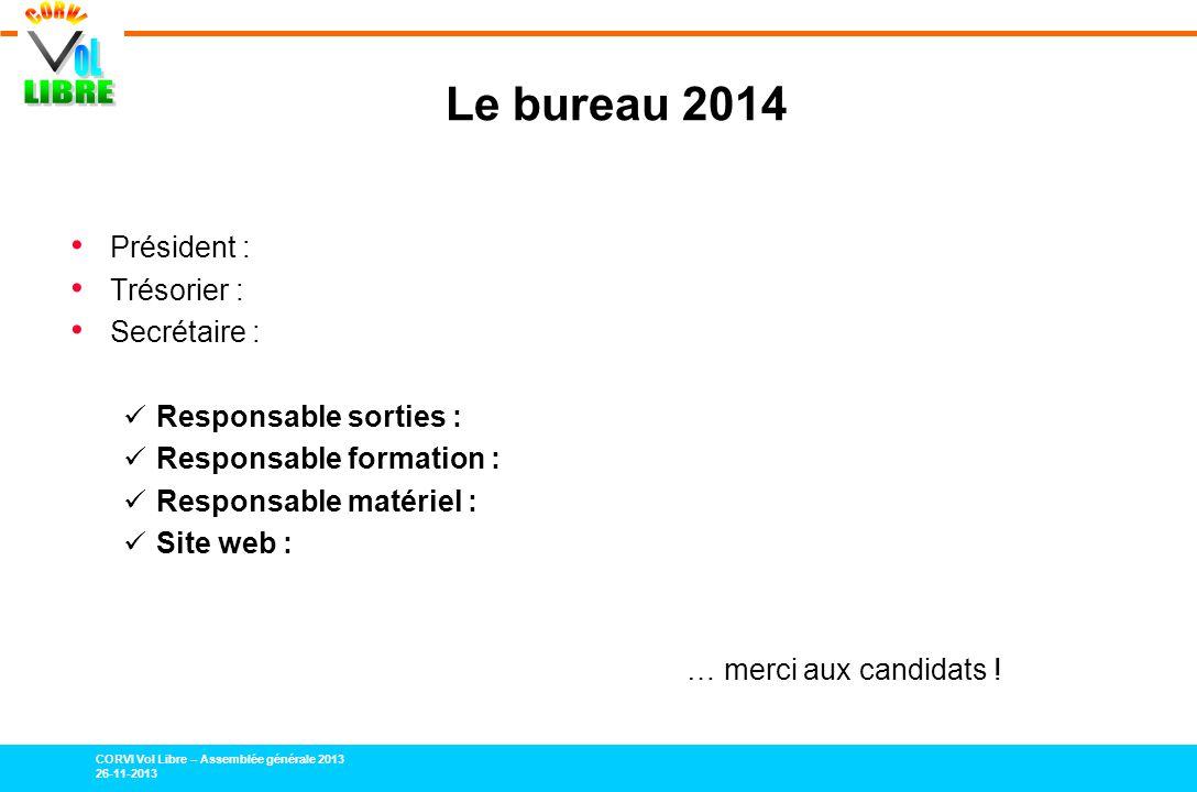 CORVI Vol Libre – Assemblée générale 2013 26-11-2013 Le bureau 2014 Président : Trésorier : Secrétaire : Responsable sorties : Responsable formation :