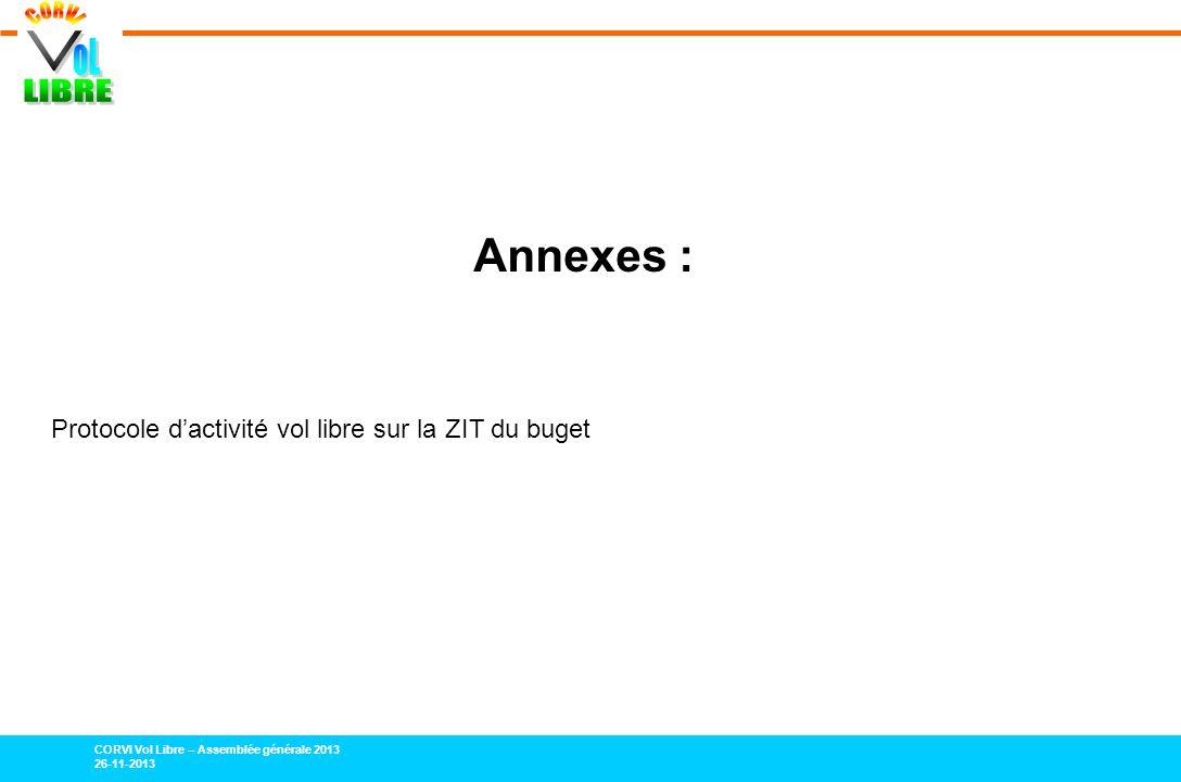 CORVI Vol Libre – Assemblée générale 2013 26-11-2013 Annexes : Protocole dactivité vol libre sur la ZIT du buget