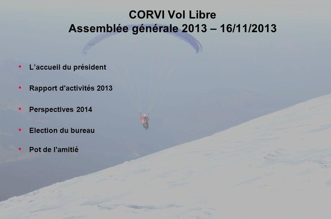 CORVI Vol Libre – Assemblée générale 2013 26-11-2013 CORVI Vol Libre Assemblée générale 2013 – 16/11/2013 Laccueil du président Rapport d'activités 20