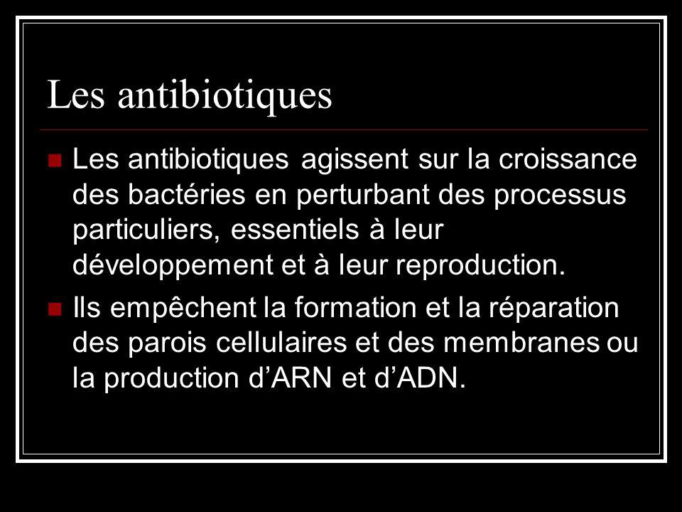 Les antibiotiques Les antibiotiques agissent sur la croissance des bactéries en perturbant des processus particuliers, essentiels à leur développement et à leur reproduction.