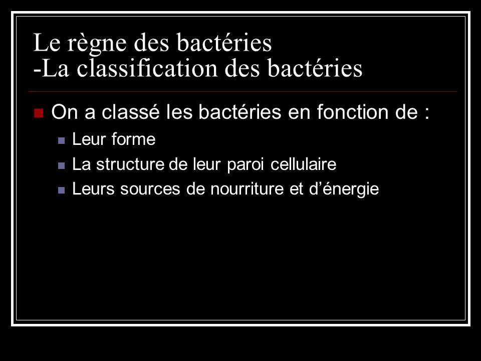 Le règne des bactéries -La classification des bactéries On a classé les bactéries en fonction de : Leur forme La structure de leur paroi cellulaire Leurs sources de nourriture et dénergie