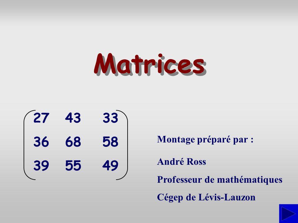 Montage préparé par : André Ross Professeur de mathématiques Cégep de Lévis-Lauzon Matrices 27 36 39 43 68 55 33 58 49