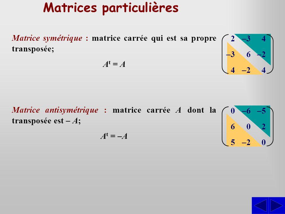 Matrices particulières Matrice symétrique : matrice carrée qui est sa propre transposée; A t = A 2 –3 4 –3 6 –2 4 –2 4 Matrice antisymétrique : matrice carrée A dont la transposée est – A; A t = –A 065065 –6 0 –2 –5 2 0