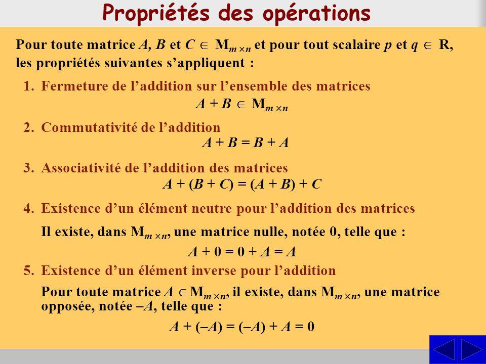 Propriétés des opérations Pour toute matrice A, B et C M m n et pour tout scalaire p et q R, les propriétés suivantes sappliquent : 1.Fermeture de laddition sur lensemble des matrices 2.