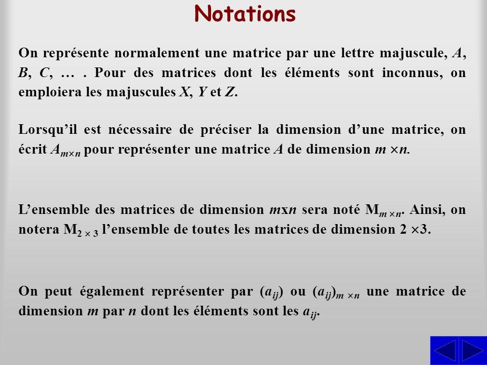 Notations On représente normalement une matrice par une lettre majuscule, A, B, C, …. Pour des matrices dont les éléments sont inconnus, on emploiera