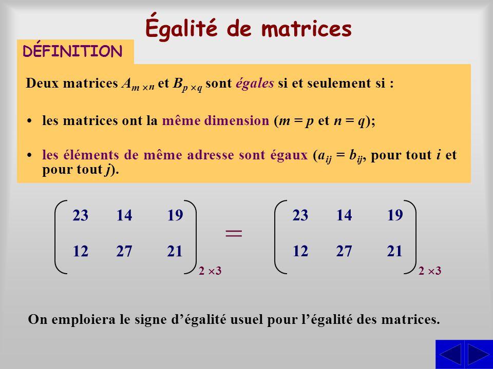Égalité de matrices Deux matrices A m n et B p q sont égales si et seulement si : les matrices ont la même dimension (m = p et n = q); les éléments de même adresse sont égaux (a ij = b ij, pour tout i et pour tout j).