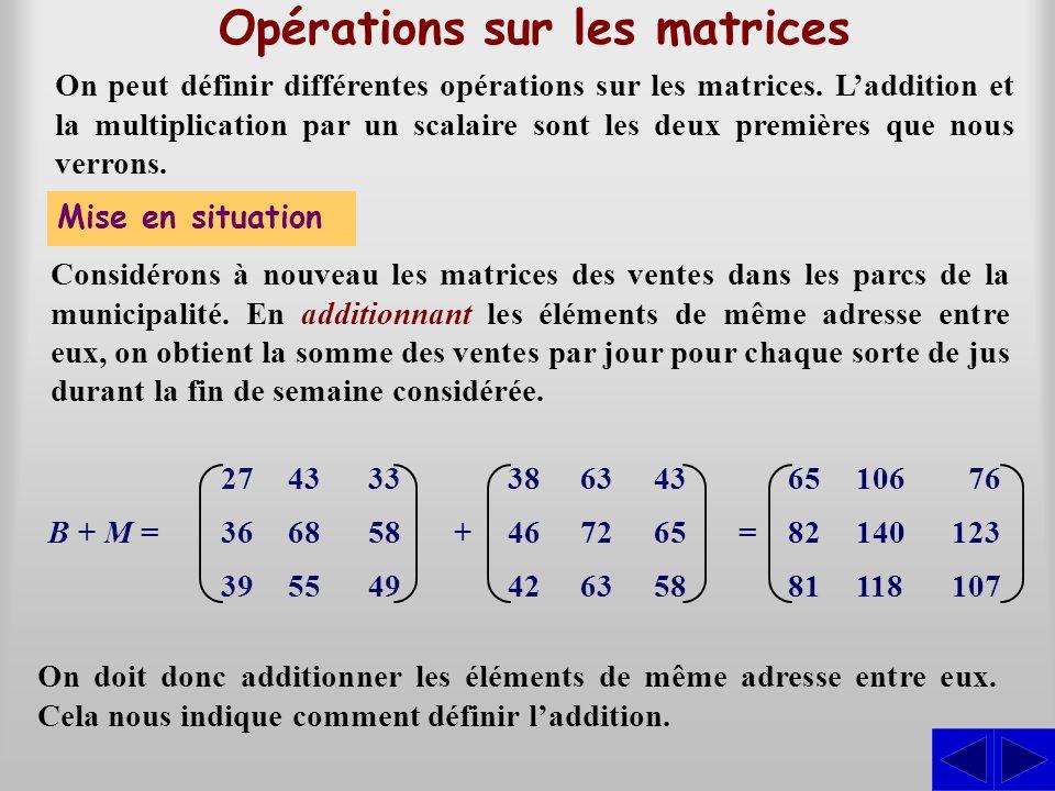 Opérations sur les matrices On peut définir différentes opérations sur les matrices. Laddition et la multiplication par un scalaire sont les deux prem