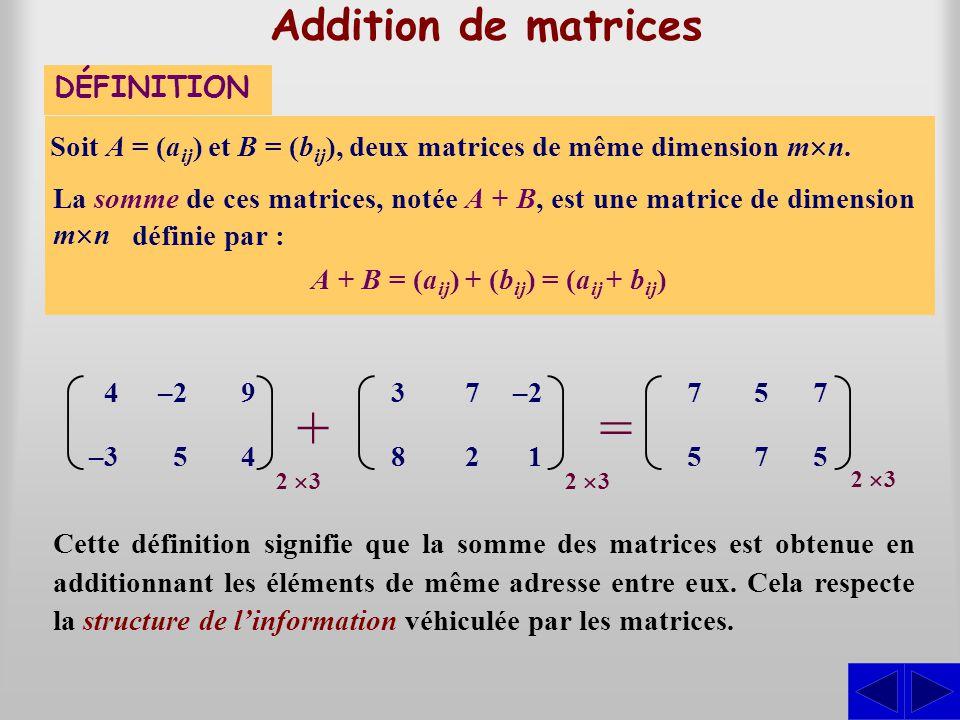 Addition de matrices Soit A = (a ij ) et B = (b ij ), deux matrices de même dimension m n. DÉFINITION A + B = (a ij ) + (b ij ) = (a ij + b ij ) Cette