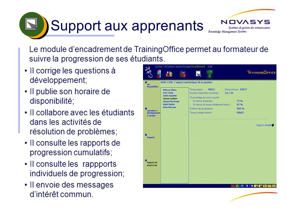 Support aux apprenants Il corrige les questions à développement; Il publie son horaire de disponibilité; Il collabore avec les étudiants dans les acti
