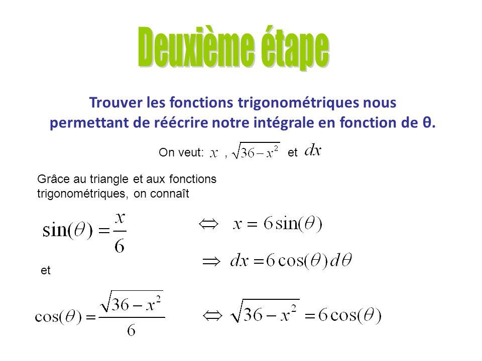Trouver les côtés du triangle rectangle permettant de réécrire notre intégrale en fonction de θ. Vérification des côtés du triangle à laide du théorèm