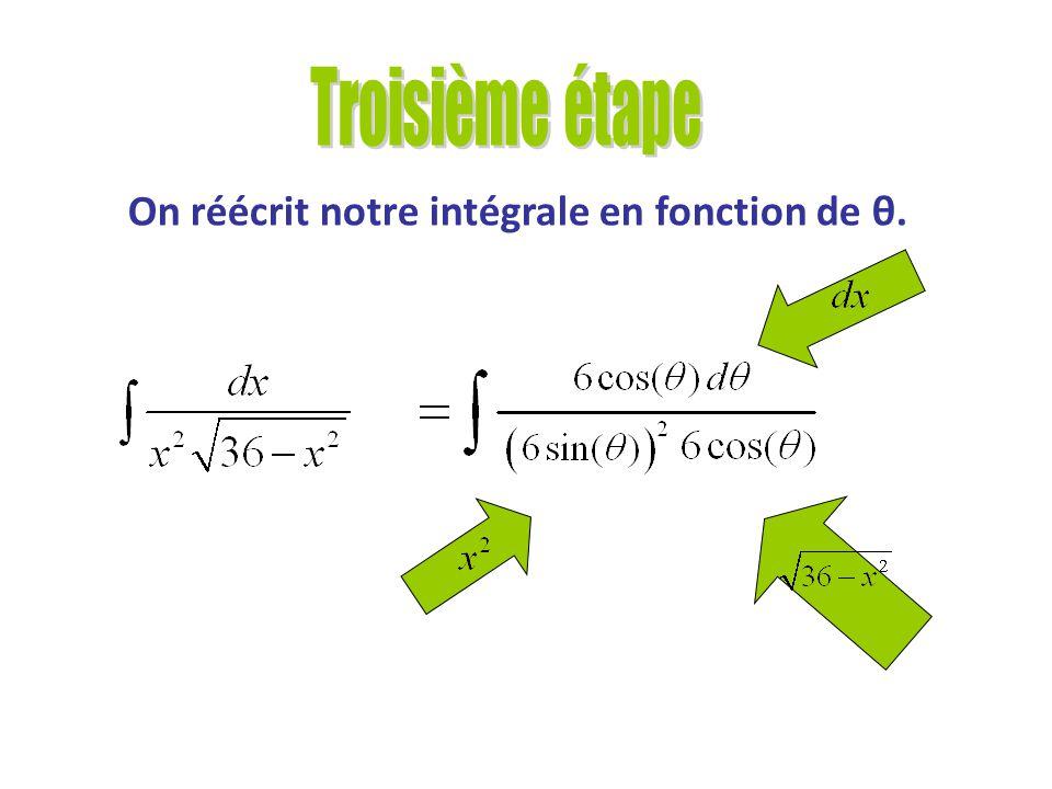 Trouver les fonctions trigonométriques nous permettant de réécrire notre intégrale en fonction de θ. On veut:, et Grâce au triangle et aux fonctions t