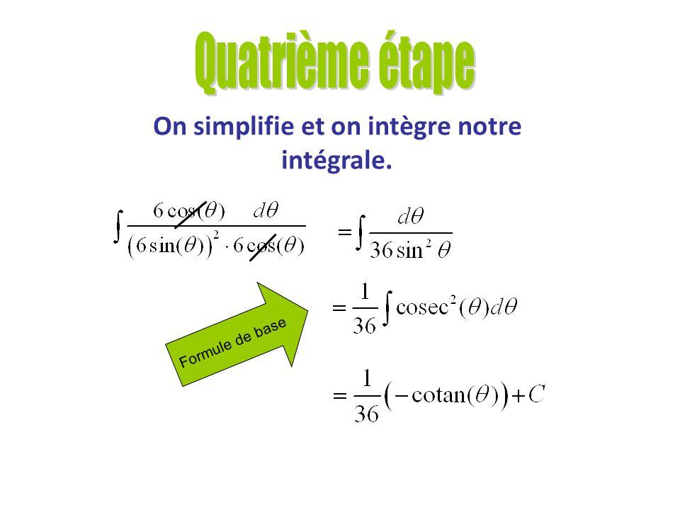 On réécrit notre intégrale en fonction de θ.