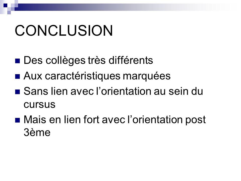 CONCLUSION Des collèges très différents Aux caractéristiques marquées Sans lien avec lorientation au sein du cursus Mais en lien fort avec lorientation post 3ème