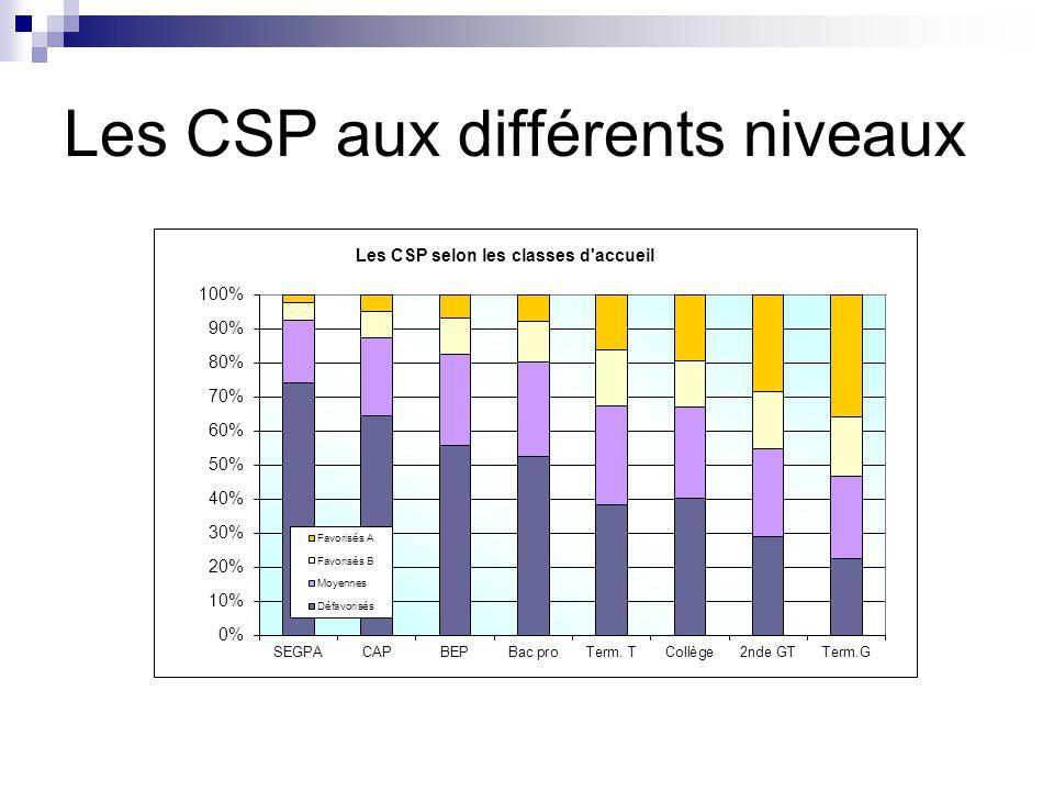 Les CSP aux différents niveaux
