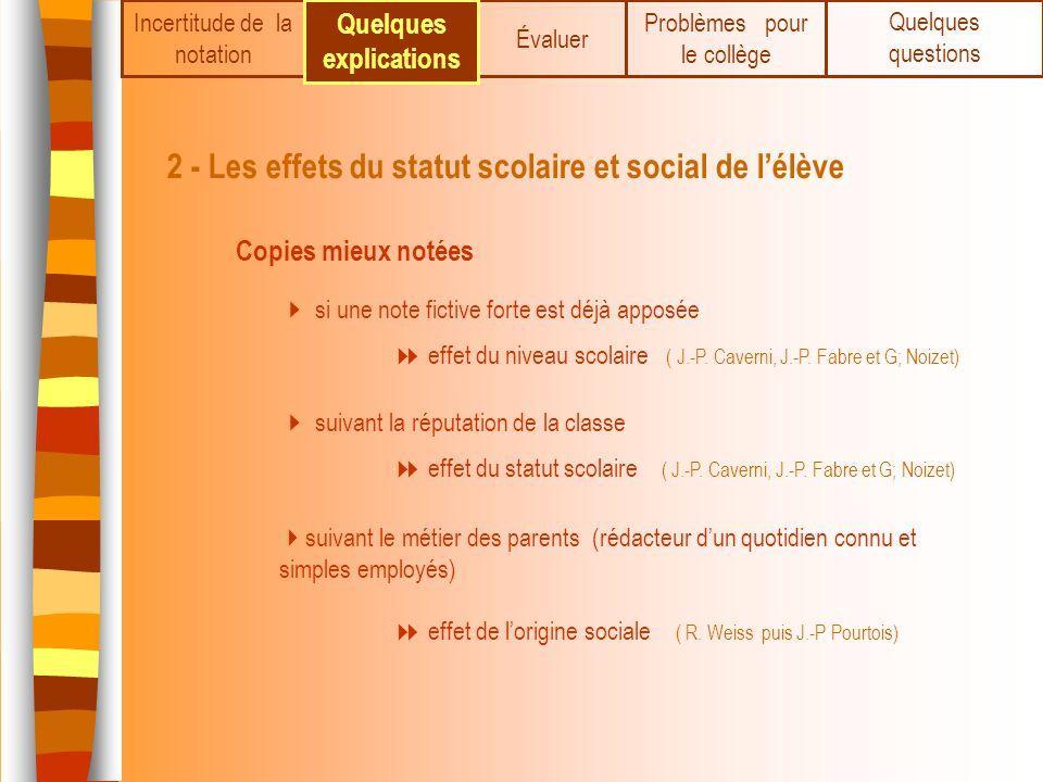 Incertitude de la notation 2 - Les effets du statut scolaire et social de lélève Copies mieux notées si une note fictive forte est déjà apposée suivan