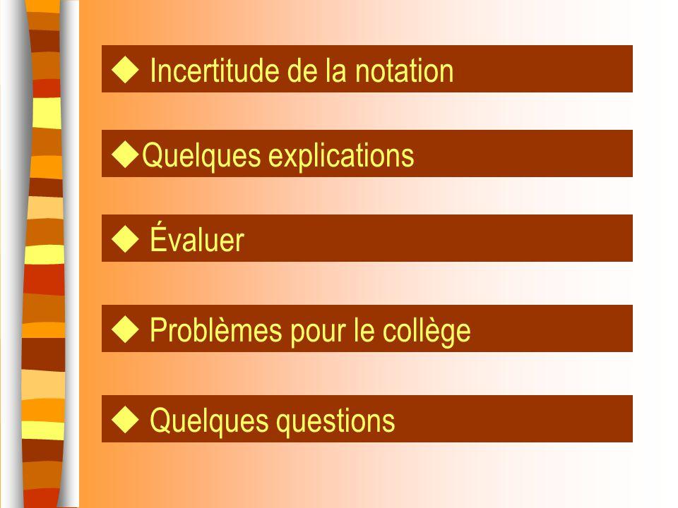 Incertitude de la notation Quelques explications Problèmes pour le collège Quelques questions Évaluer