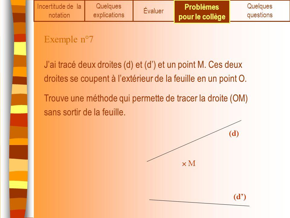 M (d) Incertitude de la notation Quelques explications Évaluer Quelques questions Problèmes pour le collège Exemple n°7 Jai tracé deux droites (d) et
