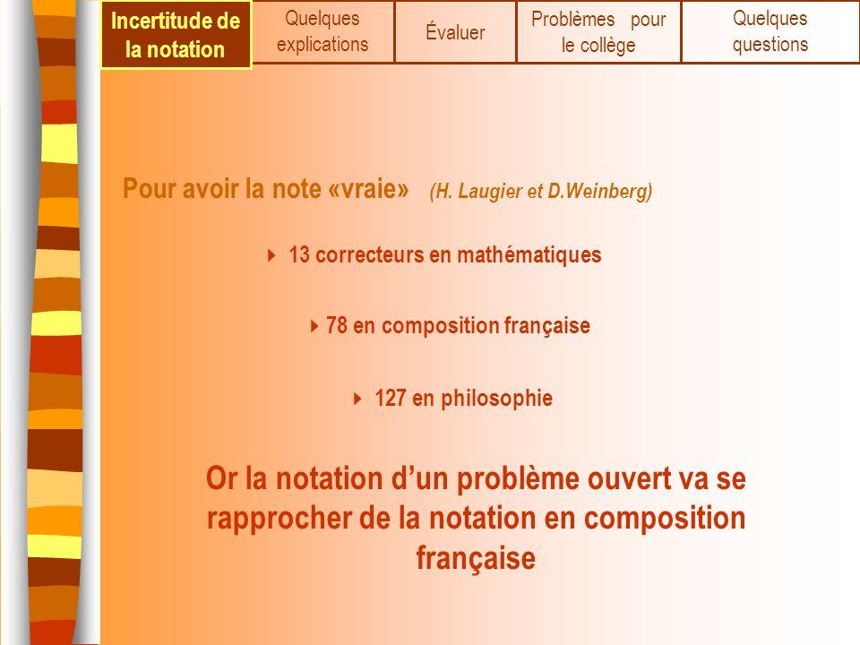 Pour avoir la note «vraie» (H. Laugier et D.Weinberg) 13 correcteurs en mathématiques 78 en composition française 127 en philosophie Quelques explicat