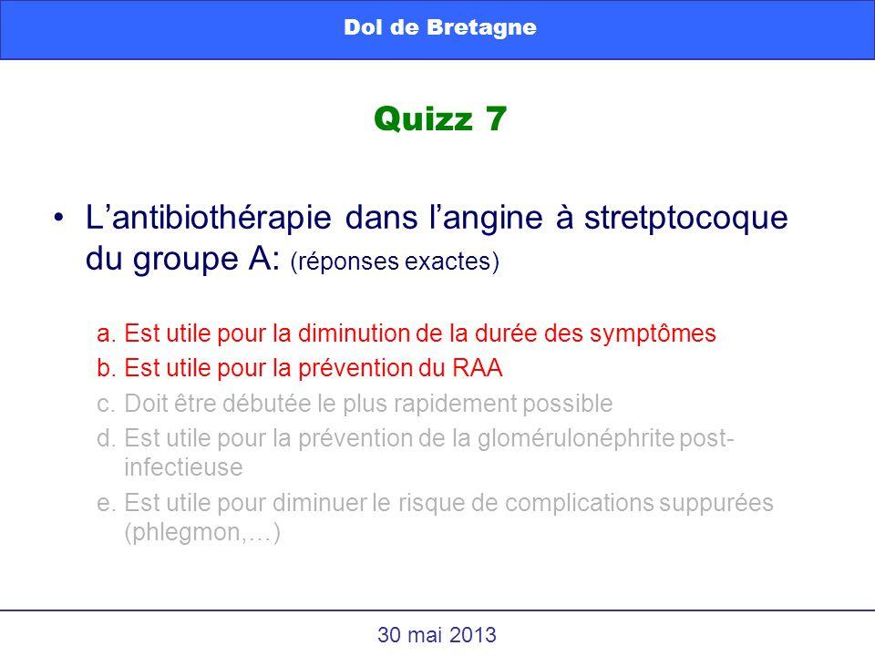 Lantibiothérapie dans langine à stretptocoque du groupe A: (réponses exactes) a.Est utile pour la diminution de la durée des symptômes b.Est utile pou