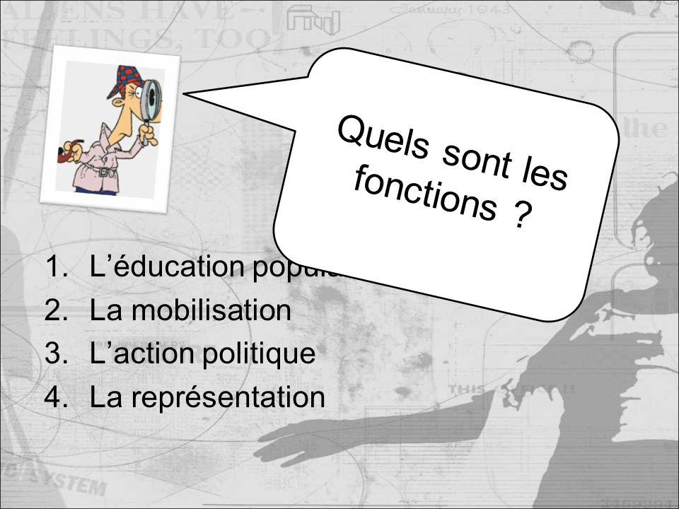 1.Léducation populaire 2.La mobilisation 3.Laction politique 4.La représentation Quels sont les fonctions
