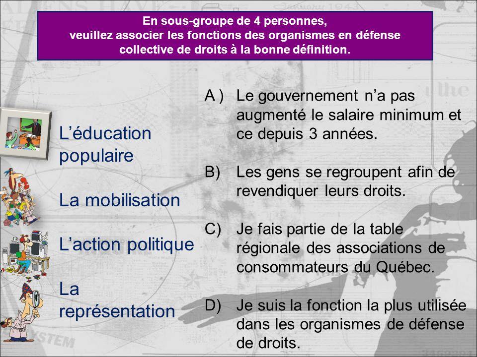 En sous-groupe de 4 personnes, veuillez associer les fonctions des organismes en défense collective de droits à la bonne définition.