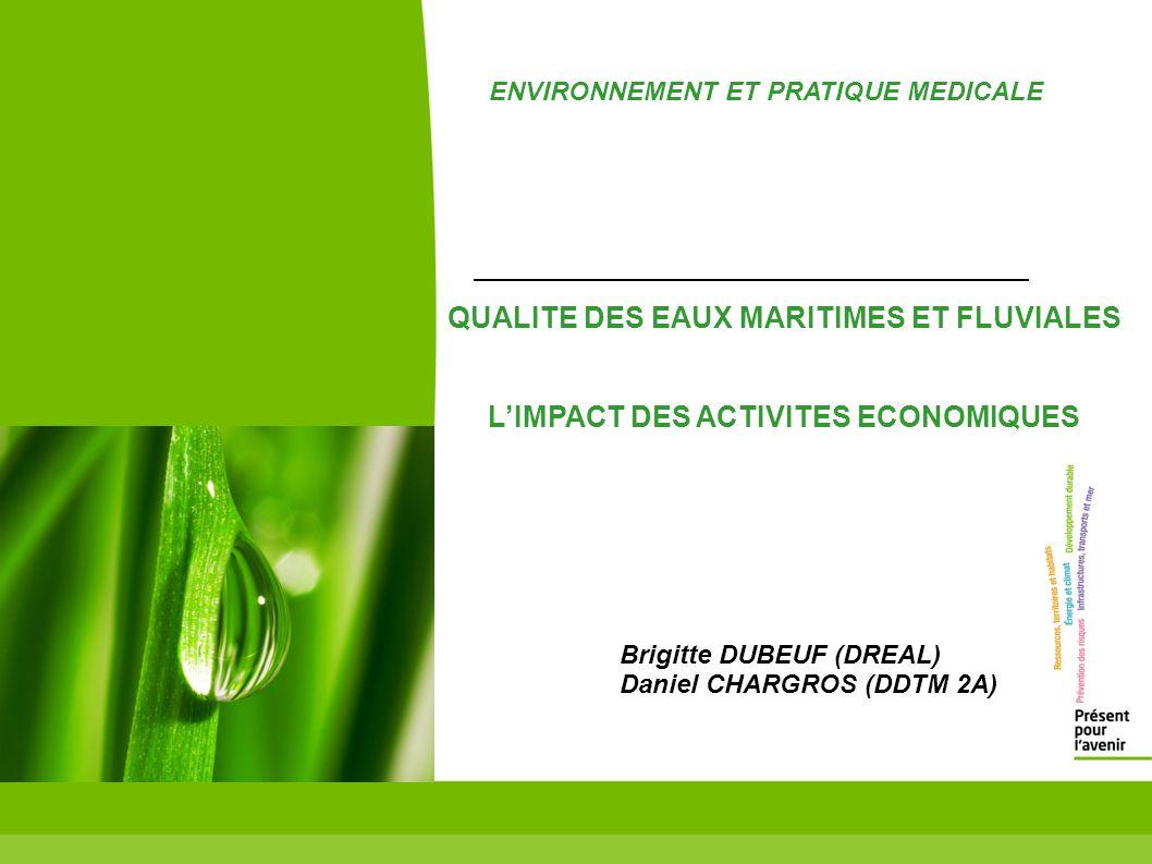 QUALITE DES EAUX MARITIMES ET FLUVIALES LIMPACT DES ACTIVITES ECONOMIQUES Brigitte DUBEUF (DREAL) Daniel CHARGROS (DDTM 2A) ENVIRONNEMENT ET PRATIQUE