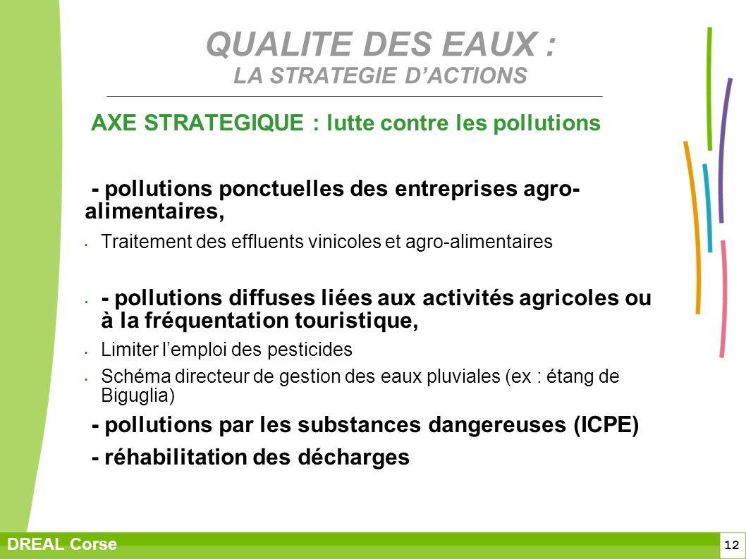 12 DREAL Corse QUALITE DES EAUX : LA STRATEGIE DACTIONS AXE STRATEGIQUE : lutte contre les pollutions - pollutions ponctuelles des entreprises agro- a