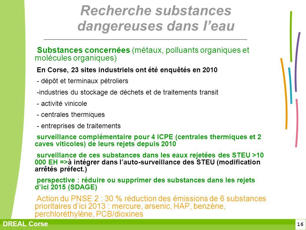 16 DREAL Corse Recherche substances dangereuses dans leau Substances concernées (métaux, polluants organiques et molécules organiques) En Corse, 23 si