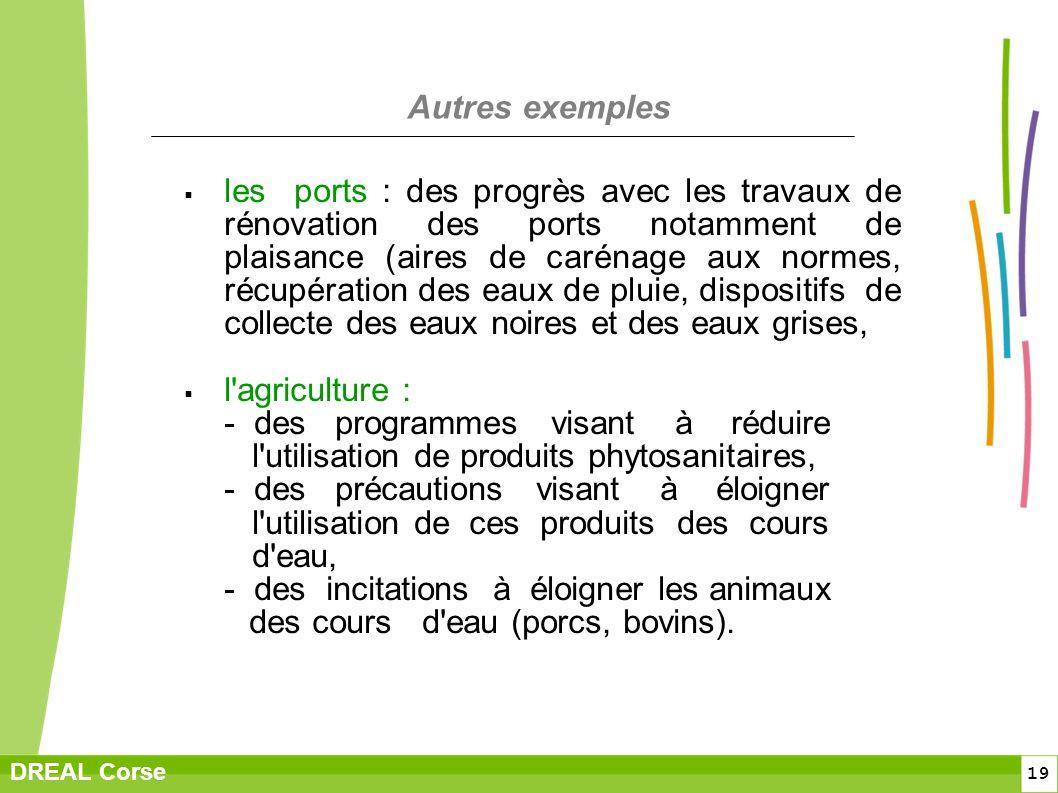 19 DREAL Corse Autres exemples les ports : des progrès avec les travaux de rénovation des ports notamment de plaisance (aires de carénage aux normes,