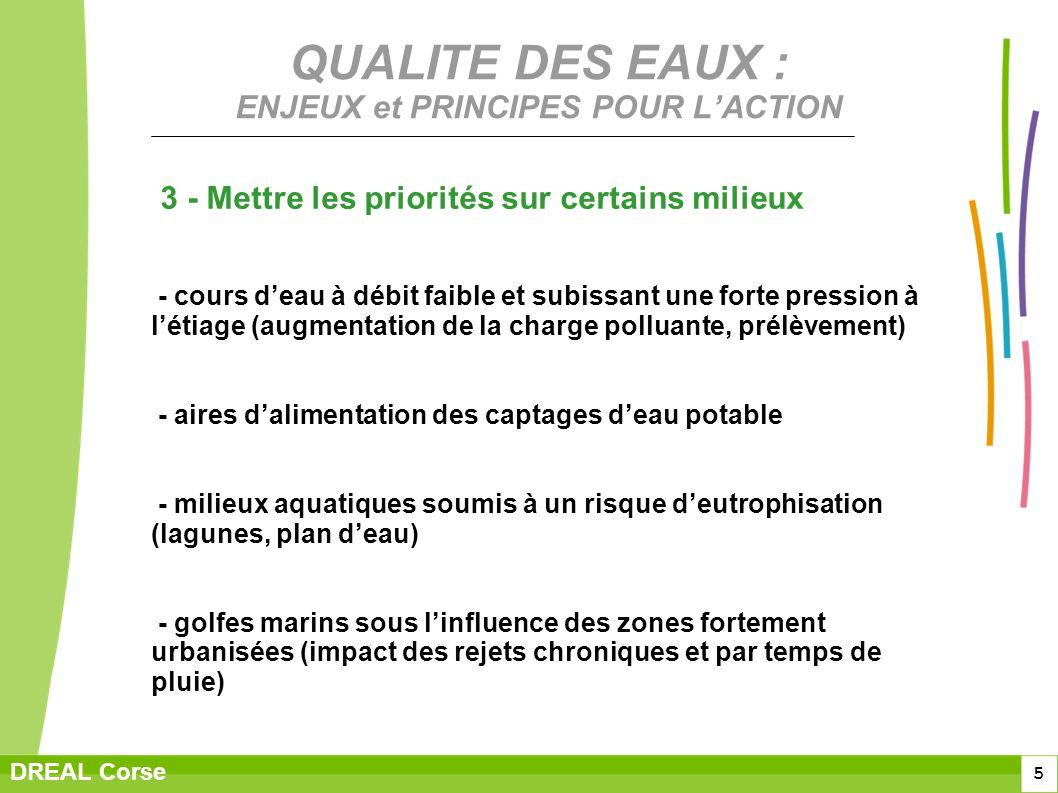 5 DREAL Corse QUALITE DES EAUX : ENJEUX et PRINCIPES POUR LACTION 3 - Mettre les priorités sur certains milieux - cours deau à débit faible et subissa