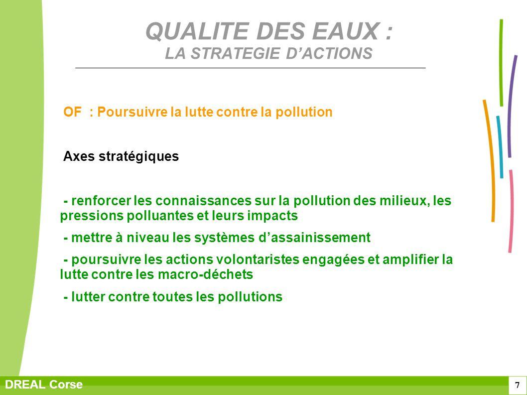 7 DREAL Corse QUALITE DES EAUX : LA STRATEGIE DACTIONS OF : Poursuivre la lutte contre la pollution Axes stratégiques - renforcer les connaissances su