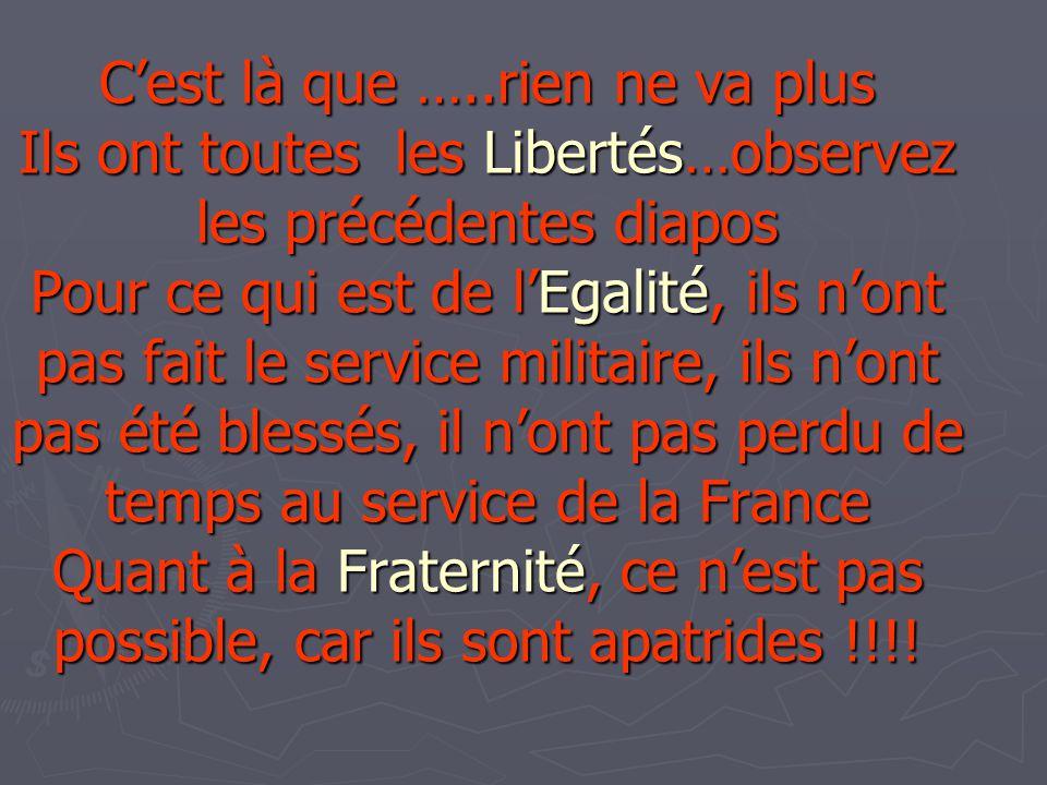 Cest là que …..rien ne va plus Ils ont toutes les Libertés…observez les précédentes diapos Pour ce qui est de lEgalité, ils nont pas fait le service m