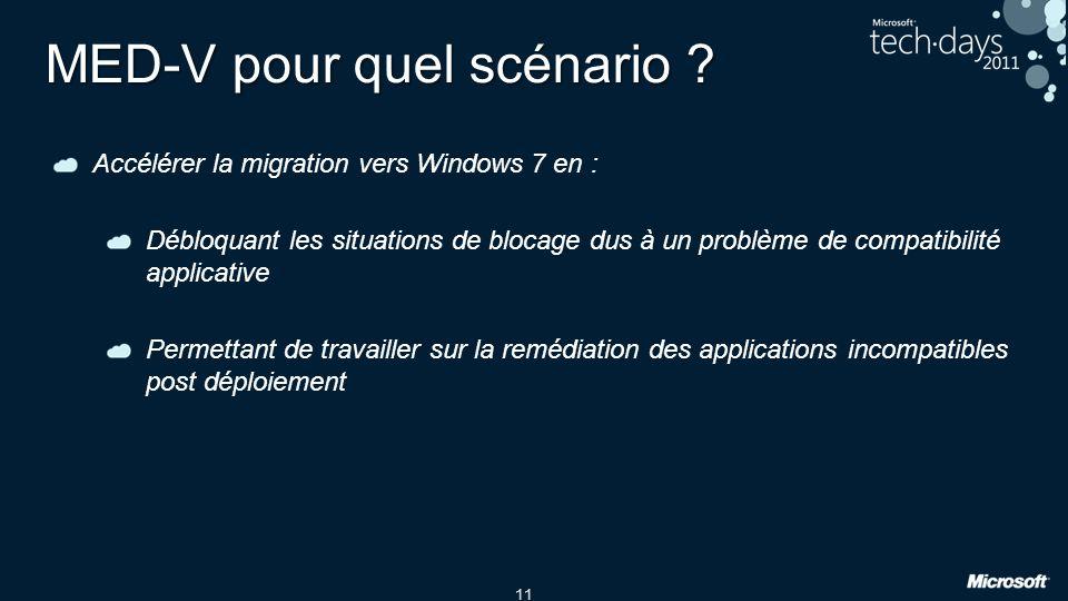 11 MED-V pour quel scénario ? Accélérer la migration vers Windows 7 en : Débloquant les situations de blocage dus à un problème de compatibilité appli